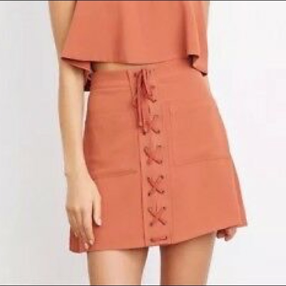 Lovers + Friends Dresses & Skirts - Lovers & Friends Clarita Short Orange LaceUp Skirt